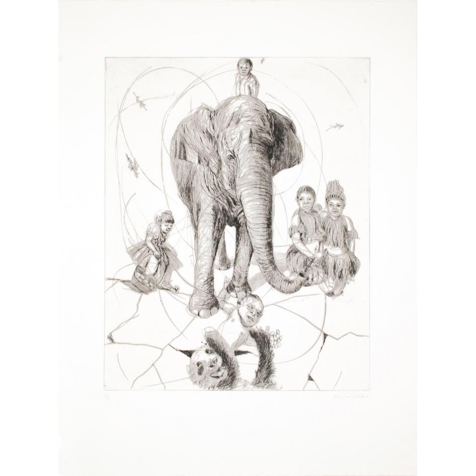 Elefant på hal is