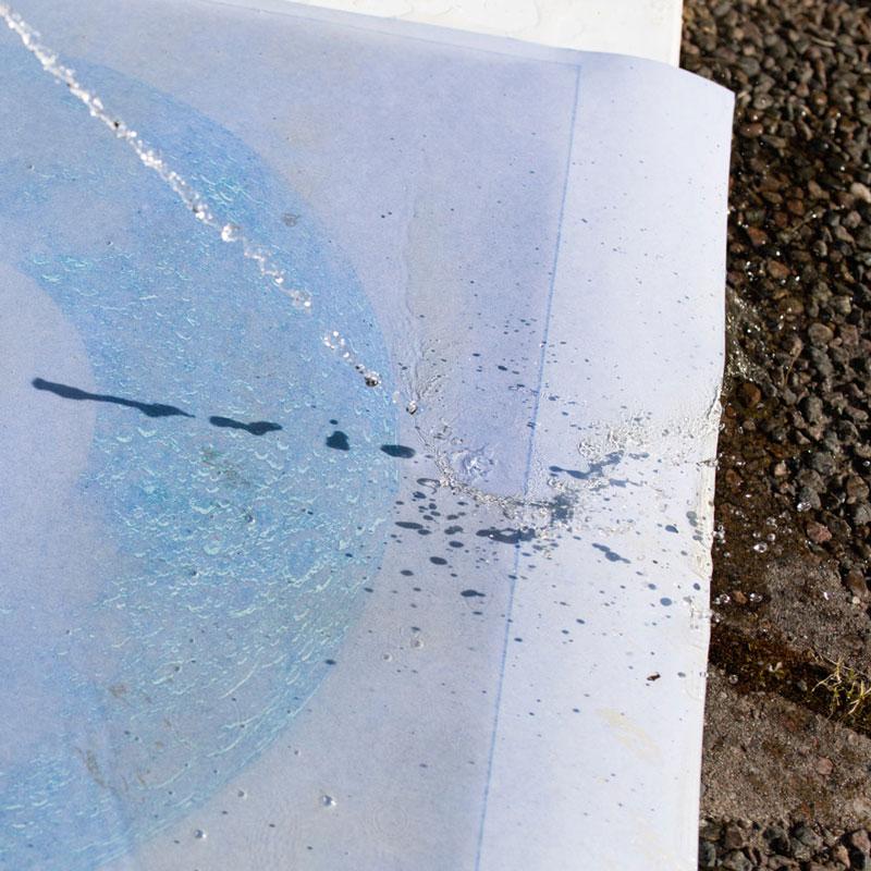 Efter exponering i solljus framkallas bilden med vatten.