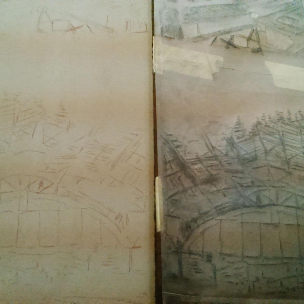Teckningen till höger fungerar som förlaga och dess linjer överförs till stenen (till vänster) för tryck (litografi).