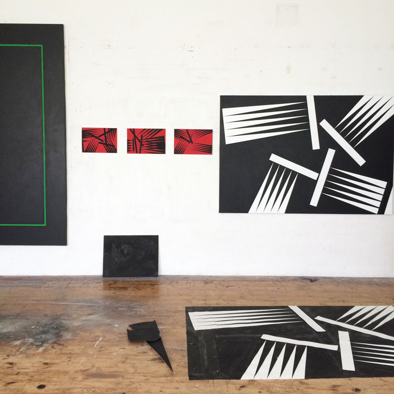 "Paintings in the studio in Lid, before the exhibition ""The Singing Forest"""
