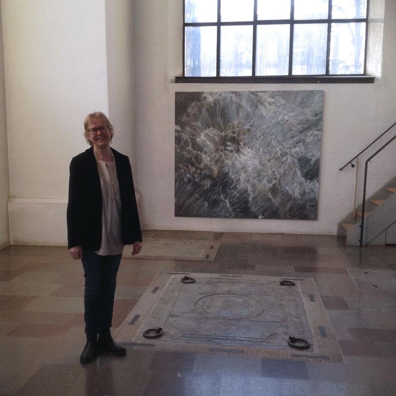 Ann Frössén at her exhibition in Katarina Kyrka, Stockholm