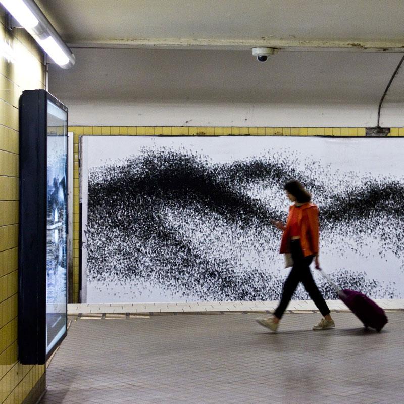 Eva Beierheimers utsmyckning i tunnelbanan i Stockholm, station Fridhemsplan
