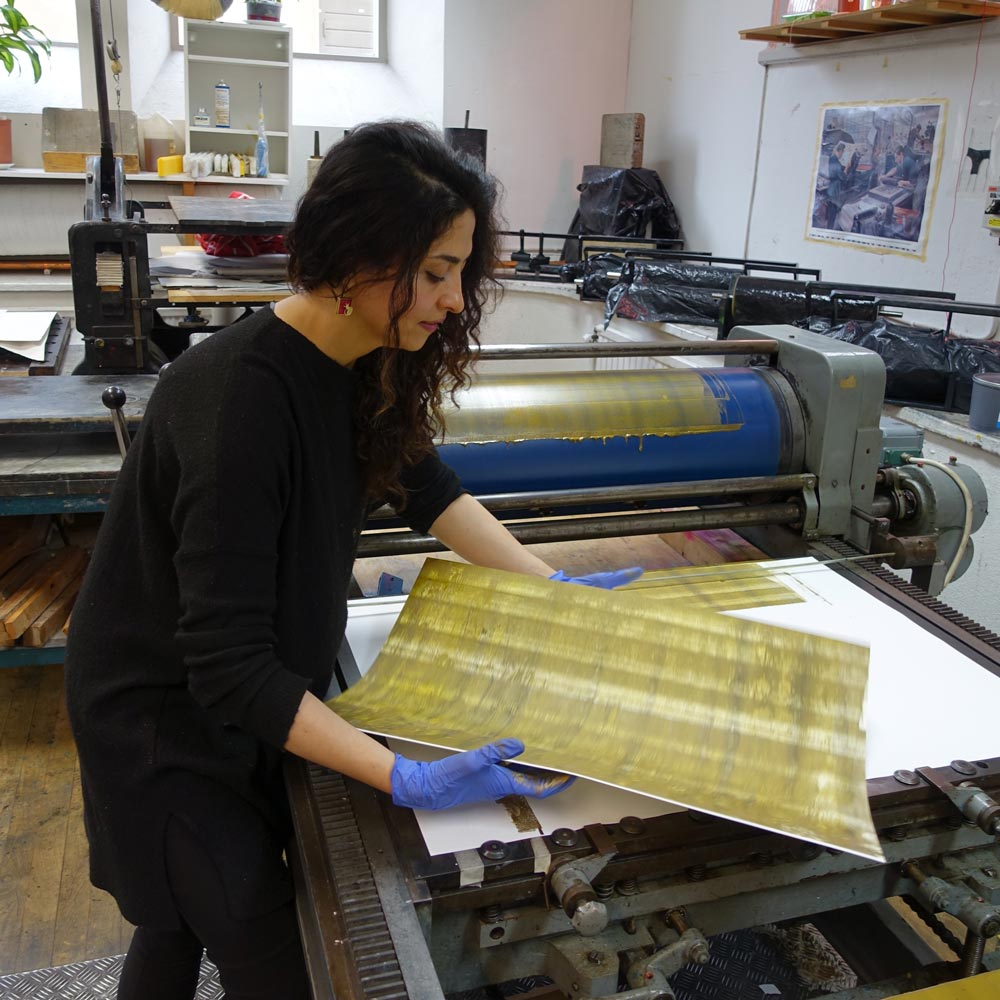 Raha Rastifard in the print workshop