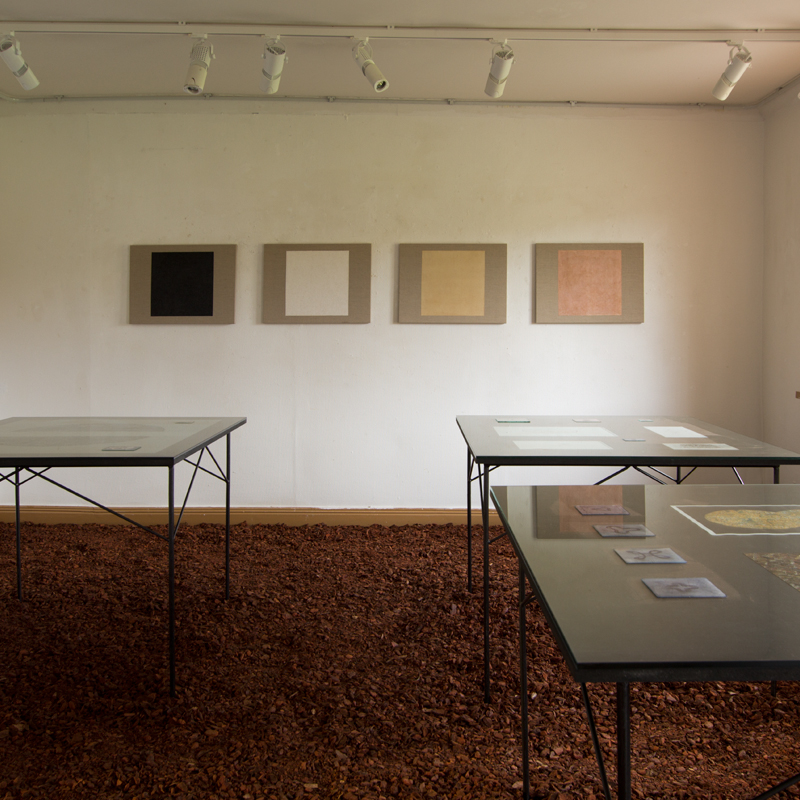 Installationsvy från utställningen Mirror of the World, Ekebyhovs Slott, Ekerö, tillsammans med Timothy Crisp