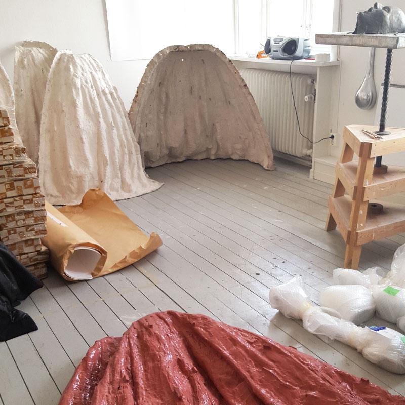 Casting moulds in Charlotte Gyllenhammar's studio