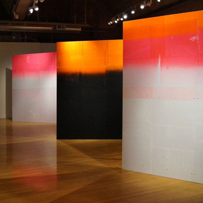 Installation view, Die Wand/Die Mauer, screen on plywood, Visual Art Center at the UT - Austin, USA
