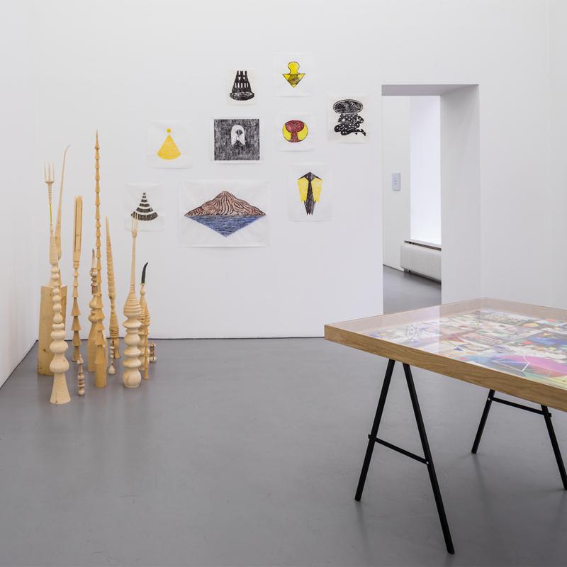Träsnitt på utställningen Filosofen,Galleri Riis