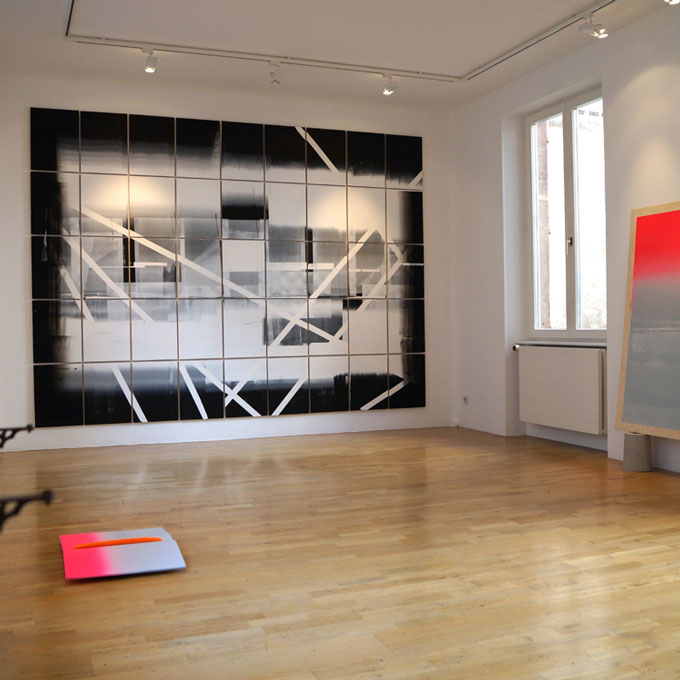 Exhibition the Arbitrary and the Given, screen on plywood, Jean-Françoise Kaiser Gallery in Strasbourg, Frankrike