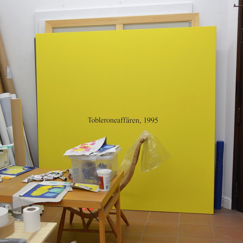 "Preparations for the exhibition ""Mona Sahlin"", at Galleri Thomas Wallner, 2015. The painting shown here is ""Mona Sahlin, 1995"", oil on canvas."